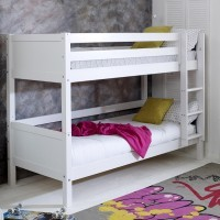Nordic White Bunkbed - solid white headboard - frame only