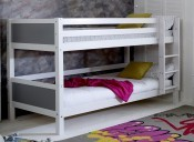 Nordic White Bunkbed - grey headboard - frame only