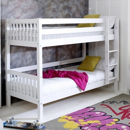 Nordic White Bunkbed - slatted headboard - frame only