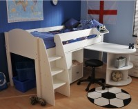 Stompa White Midsleeper Frame only<br>Optional Desk & Furniture