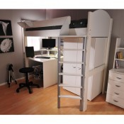 Stompa white loftbed - frame only - Optional Wardrobe & Desk